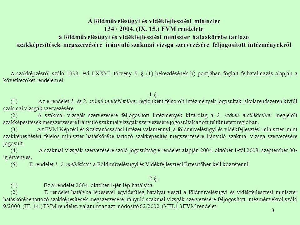 3 A földművelésügyi és vidékfejlesztési miniszter 134 / 2004.
