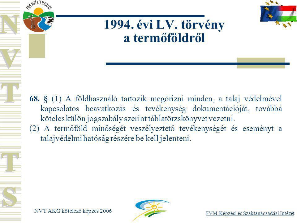 FVM Képzési és Szaktanácsadási Intézet NVT AKG kötelező képzés 2006 1994.