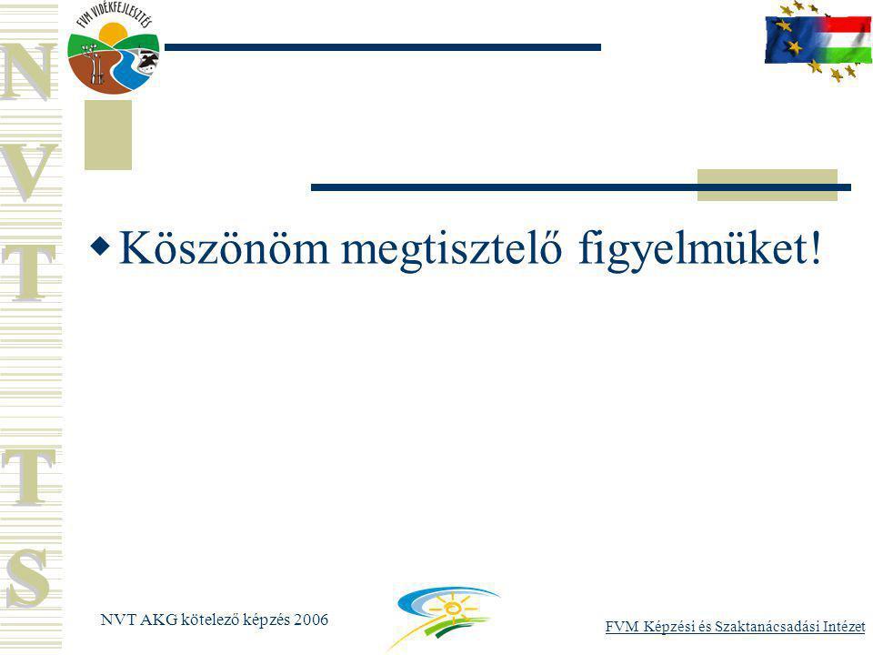 FVM Képzési és Szaktanácsadási Intézet NVT AKG kötelező képzés 2006  Köszönöm megtisztelő figyelmüket!