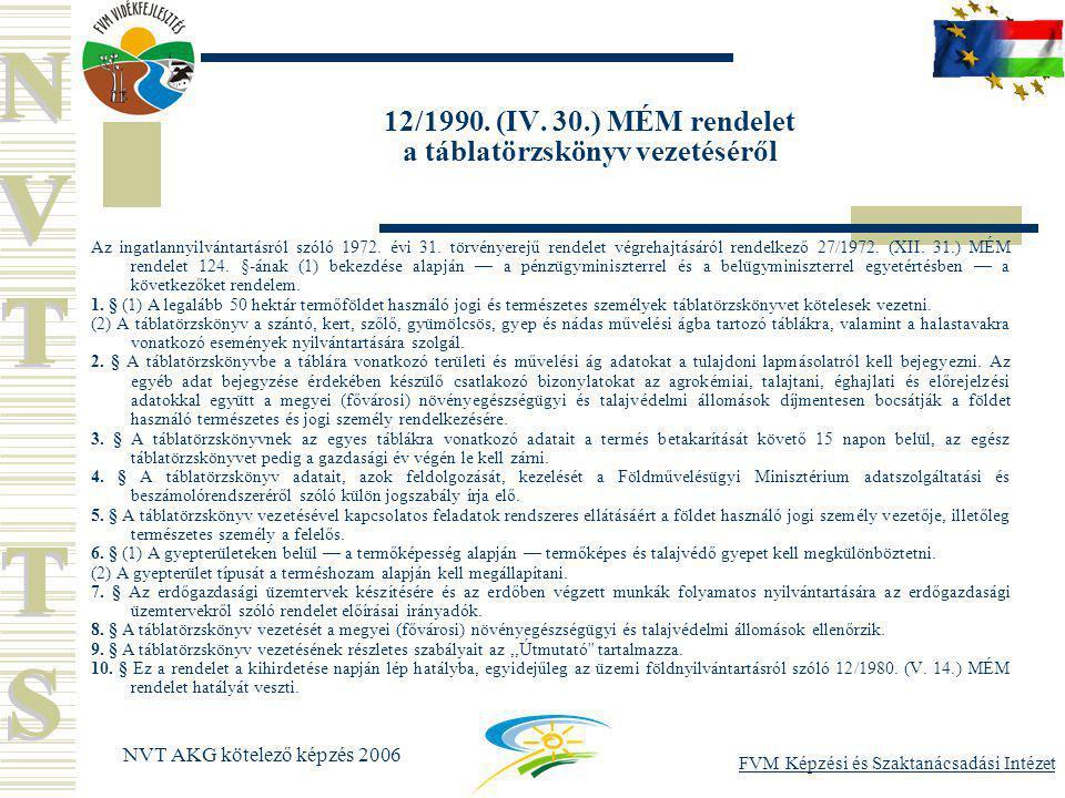 FVM Képzési és Szaktanácsadási Intézet NVT AKG kötelező képzés 2006 12/1990.