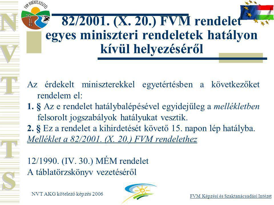 FVM Képzési és Szaktanácsadási Intézet NVT AKG kötelező képzés 2006 82/2001.