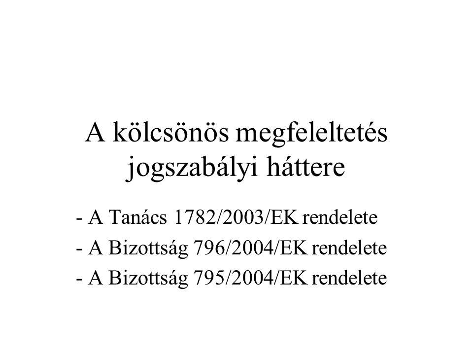 A kölcsönös megfeleltetés jogszabályi háttere - A Tanács 1782/2003/EK rendelete - A Bizottság 796/2004/EK rendelete - A Bizottság 795/2004/EK rendelet