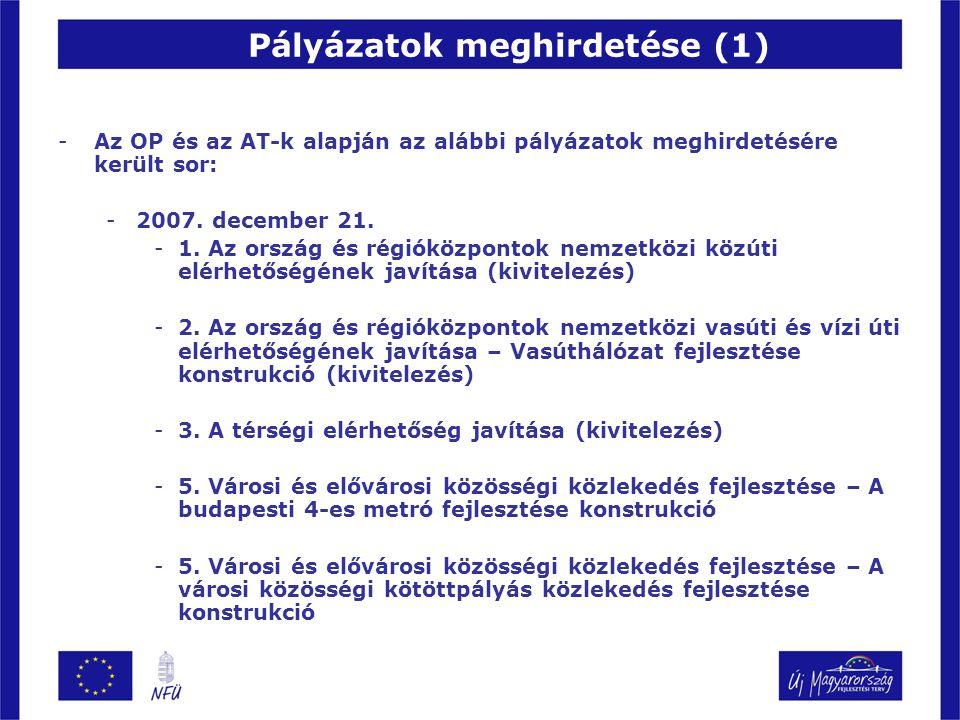 -Az OP és az AT-k alapján az alábbi pályázatok meghirdetésére került sor: -2007. december 21. -1. Az ország és régióközpontok nemzetközi közúti elérhe