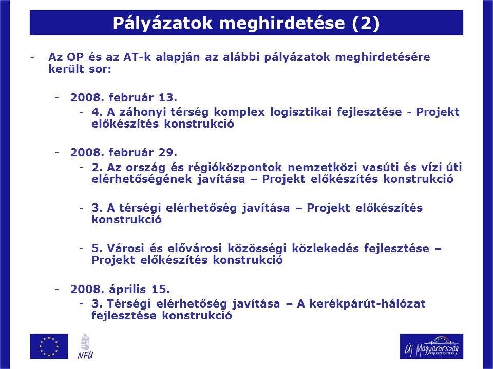 Pályázatok meghirdetése (2) -Az OP és az AT-k alapján az alábbi pályázatok meghirdetésére került sor: -2008. február 13. -4. A záhonyi térség komplex