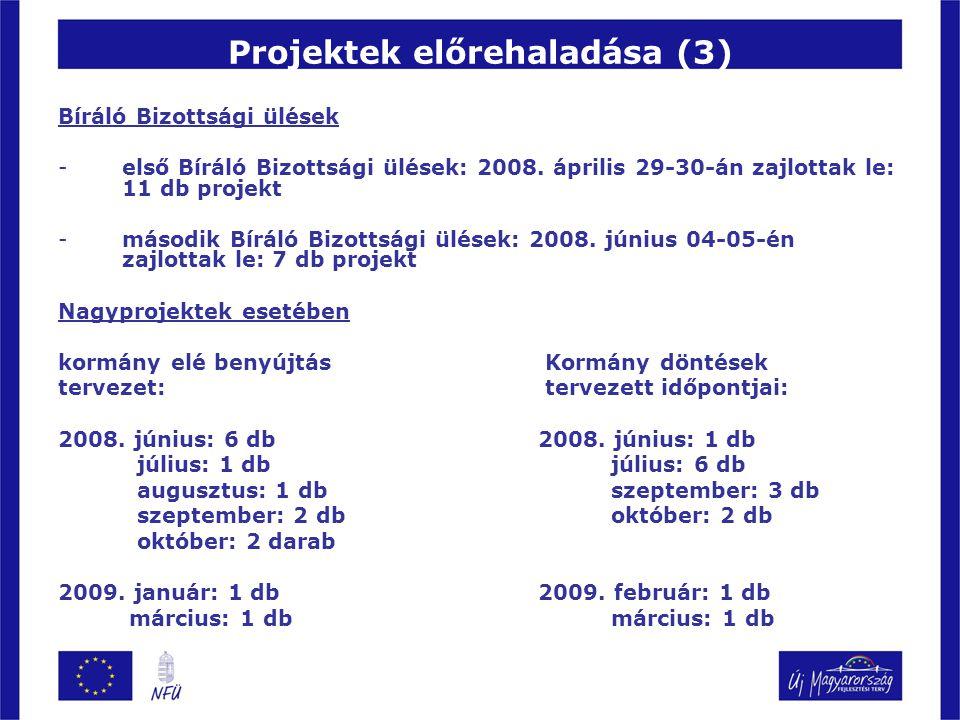 Projektek előrehaladása (3) Bíráló Bizottsági ülések -első Bíráló Bizottsági ülések: 2008. április 29-30-án zajlottak le: 11 db projekt -második Bírál