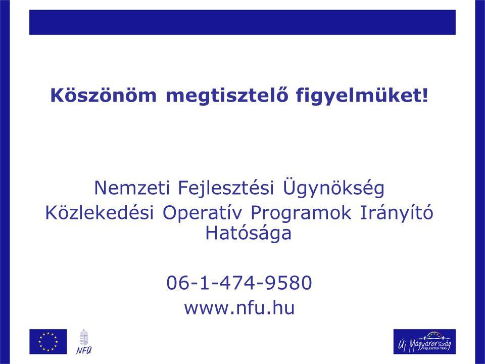 Köszönöm megtisztelő figyelmüket! Nemzeti Fejlesztési Ügynökség Közlekedési Operatív Programok Irányító Hatósága 06-1-474-9580 www.nfu.hu