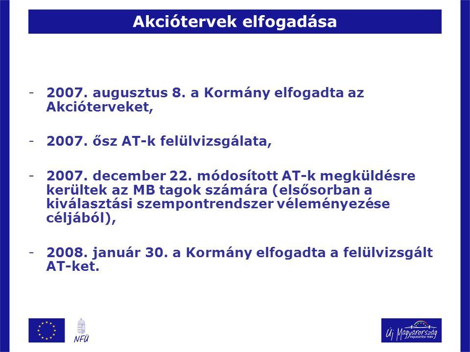 Akciótervek elfogadása -2007. augusztus 8. a Kormány elfogadta az Akcióterveket, -2007. ősz AT-k felülvizsgálata, -2007. december 22. módosított AT-k