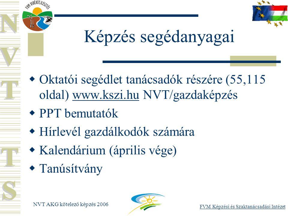 FVM Képzési és Szaktanácsadási Intézet NVT AKG kötelező képzés 2006 Képzés segédanyagai  Oktatói segédlet tanácsadók részére (55,115 oldal) www.kszi.hu NVT/gazdaképzéswww.kszi.hu  PPT bemutatók  Hírlevél gazdálkodók számára  Kalendárium (április vége)  Tanúsítvány