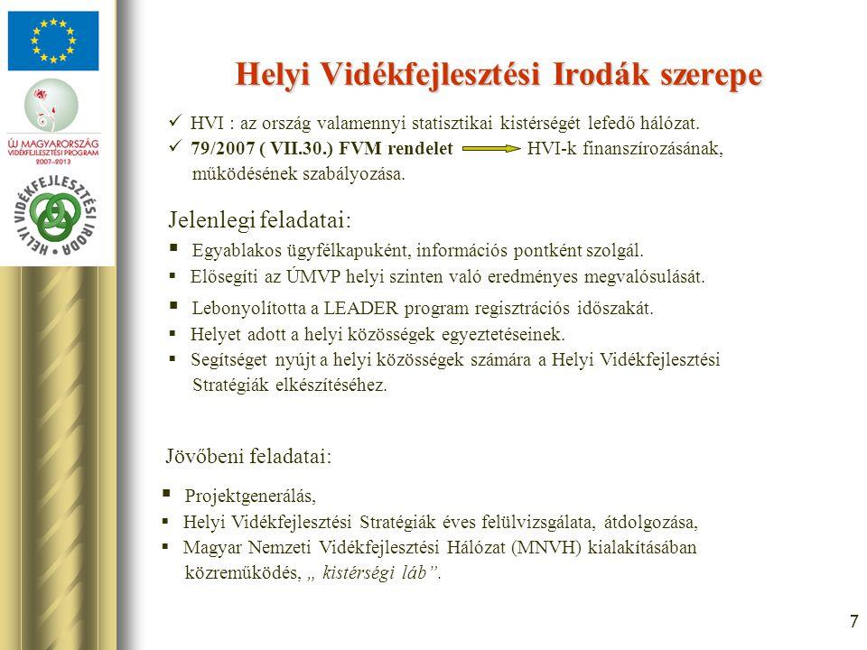 7 Helyi Vidékfejlesztési Irodák szerepe Jelenlegi feladatai: HVI : az ország valamennyi statisztikai kistérségét lefedő hálózat.