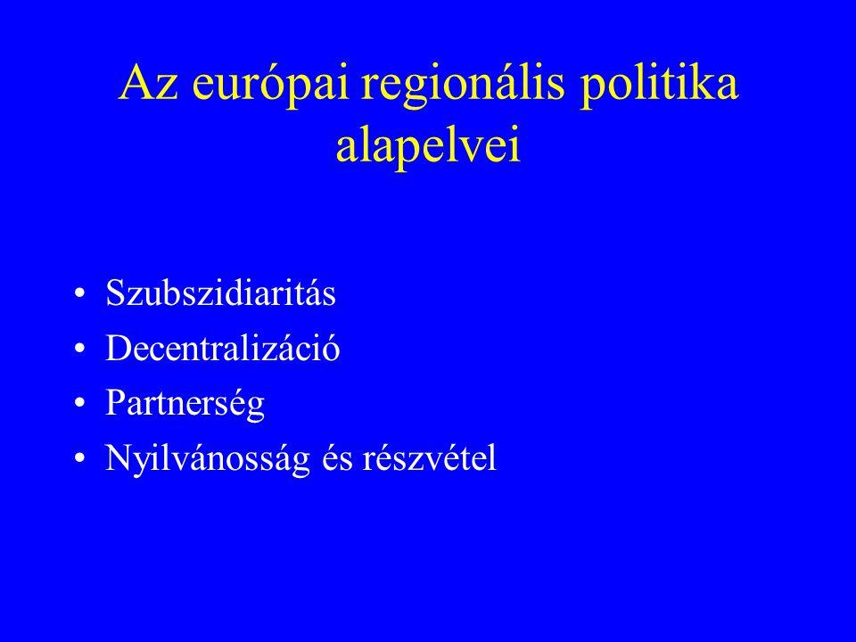Az európai regionális politika alapelvei Szubszidiaritás Decentralizáció Partnerség Nyilvánosság és részvétel