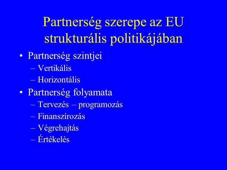 Partnerség szerepe az EU strukturális politikájában Partnerség szintjei –Vertikális –Horizontális Partnerség folyamata –Tervezés – programozás –Finans