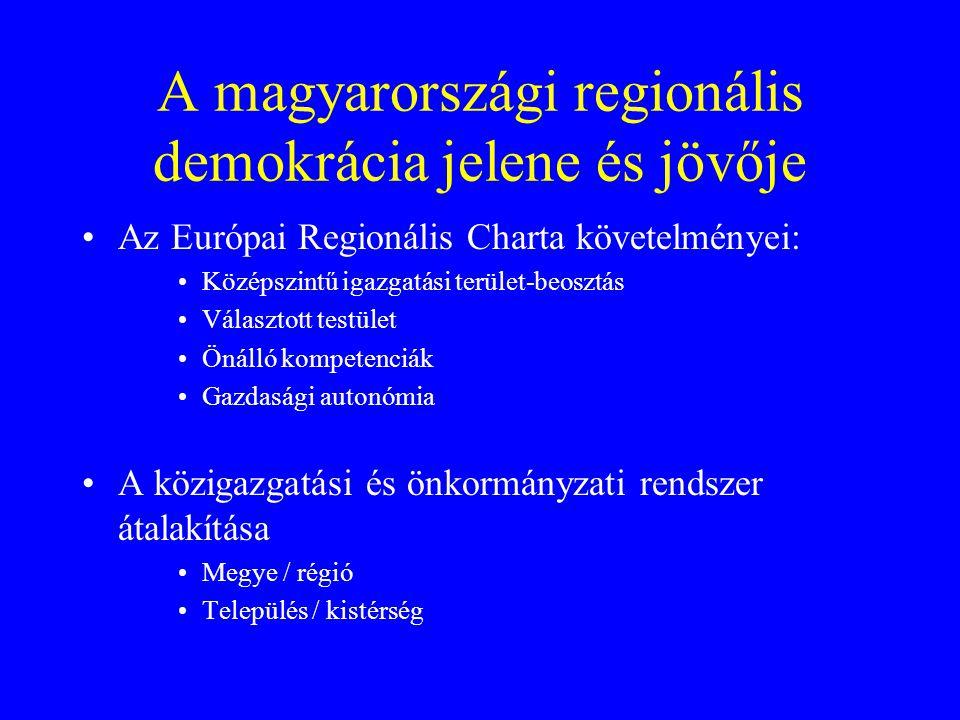 A magyarországi regionális demokrácia jelene és jövője Az Európai Regionális Charta követelményei: Középszintű igazgatási terület-beosztás Választott