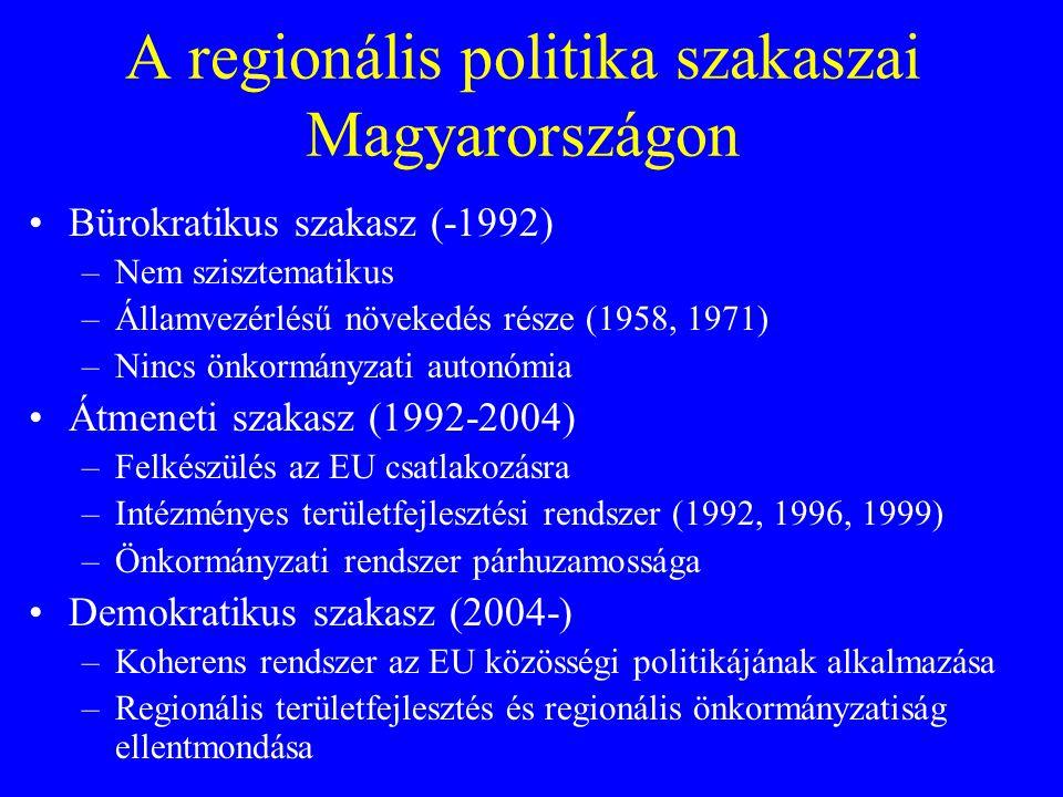 A regionális politika szakaszai Magyarországon Bürokratikus szakasz (-1992) –Nem szisztematikus –Államvezérlésű növekedés része (1958, 1971) –Nincs ön