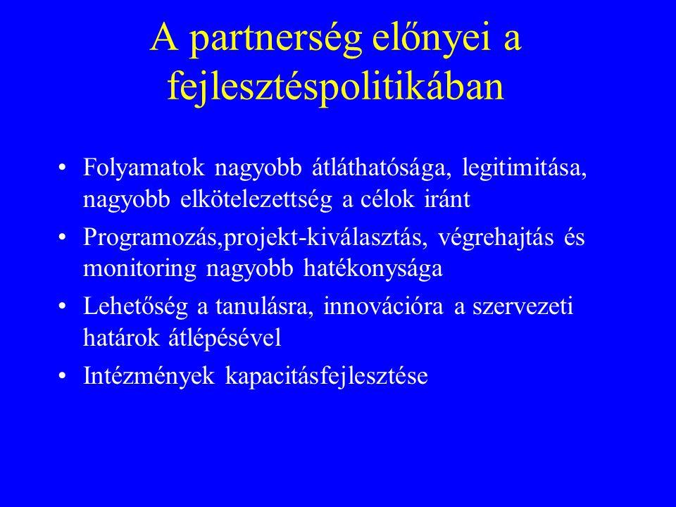 A partnerség előnyei a fejlesztéspolitikában Folyamatok nagyobb átláthatósága, legitimitása, nagyobb elkötelezettség a célok iránt Programozás,projekt