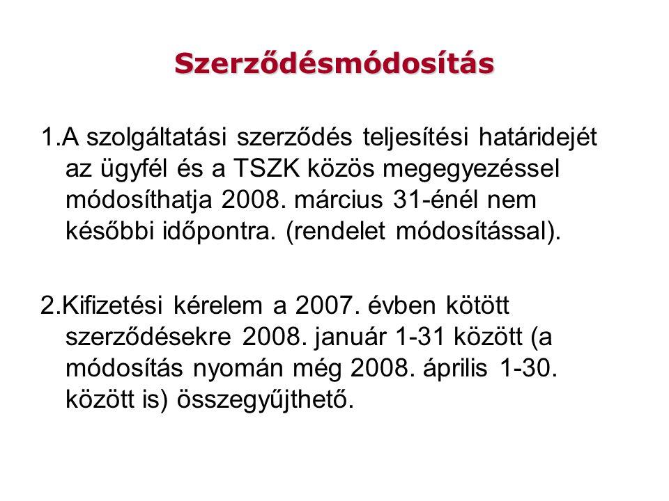 Szerződésmódosítás 1.A szolgáltatási szerződés teljesítési határidejét az ügyfél és a TSZK közös megegyezéssel módosíthatja 2008.