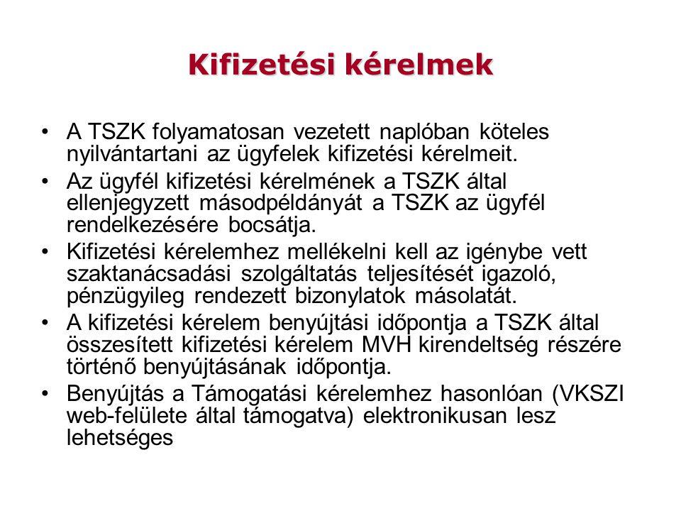 Kifizetési kérelmek A TSZK folyamatosan vezetett naplóban köteles nyilvántartani az ügyfelek kifizetési kérelmeit.