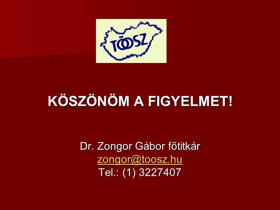 KÖSZÖNÖM A FIGYELMET! Dr. Zongor Gábor főtitkár zongor@toosz.hu Tel.: (1) 3227407