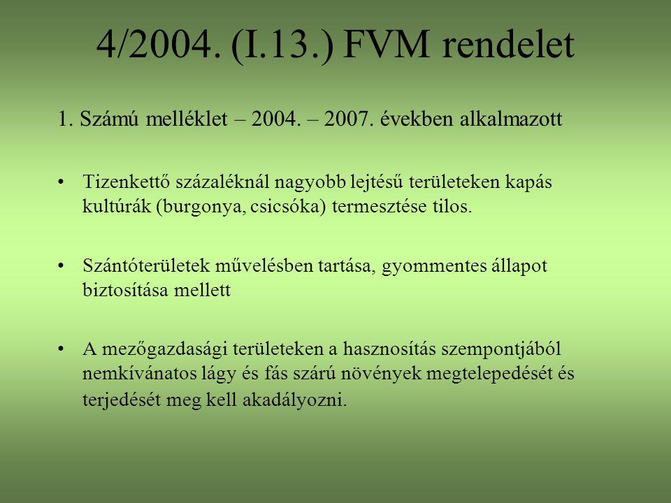 4/2004. (I.13.) FVM rendelet 1. Számú melléklet – 2004. – 2007. években alkalmazott Tizenkettő százaléknál nagyobb lejtésű területeken kapás kultúrák