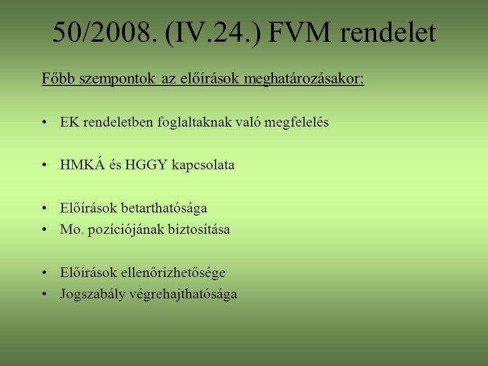 50/2008. (IV.24.) FVM rendelet Főbb szempontok az előírások meghatározásakor: EK rendeletben foglaltaknak való megfelelés HMKÁ és HGGY kapcsolata Előí