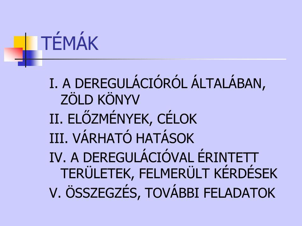 TÉMÁK I.A DEREGULÁCIÓRÓL ÁLTALÁBAN, ZÖLD KÖNYV II.