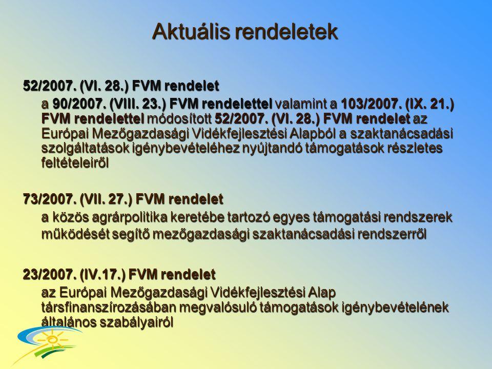 Aktuális rendeletek 52/2007. (VI. 28.) FVM rendelet a 90/2007.