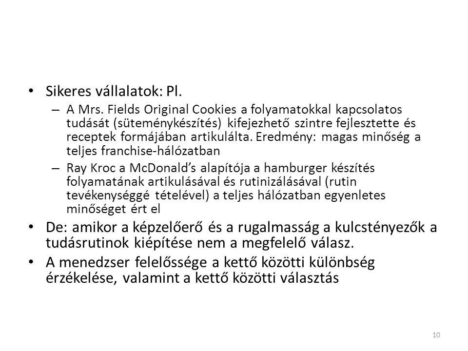 Sikeres vállalatok: Pl. – A Mrs. Fields Original Cookies a folyamatokkal kapcsolatos tudását (süteménykészítés) kifejezhető szintre fejlesztette és re