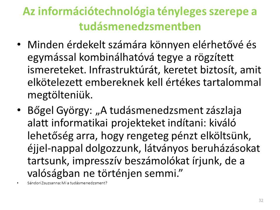 Az információtechnológia tényleges szerepe a tudásmenedzsmentben Minden érdekelt számára könnyen elérhetővé és egymással kombinálhatóvá tegye a rögzít