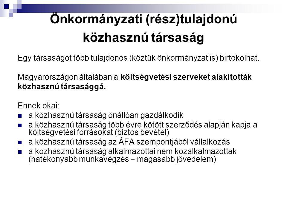 Önkormányzati (rész)tulajdonú közhasznú társaság Egy társaságot több tulajdonos (köztük önkormányzat is) birtokolhat. Magyarországon általában a költs