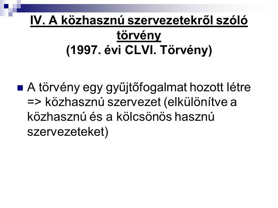 IV. A közhasznú szervezetekről szóló törvény (1997. évi CLVI. Törvény) A törvény egy gyűjtőfogalmat hozott létre => közhasznú szervezet (elkülönítve a