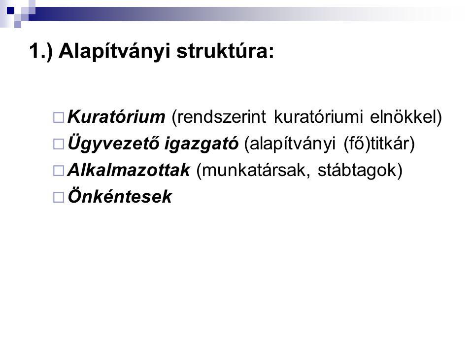 1.) Alapítványi struktúra:  Kuratórium (rendszerint kuratóriumi elnökkel)  Ügyvezető igazgató (alapítványi (fő)titkár)  Alkalmazottak (munkatársak,