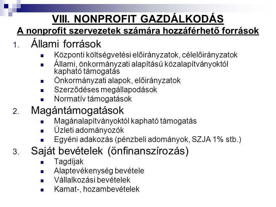 VIII. NONPROFIT GAZDÁLKODÁS A nonprofit szervezetek számára hozzáférhető források 1. Állami források Központi költségvetési előirányzatok, célelőirány