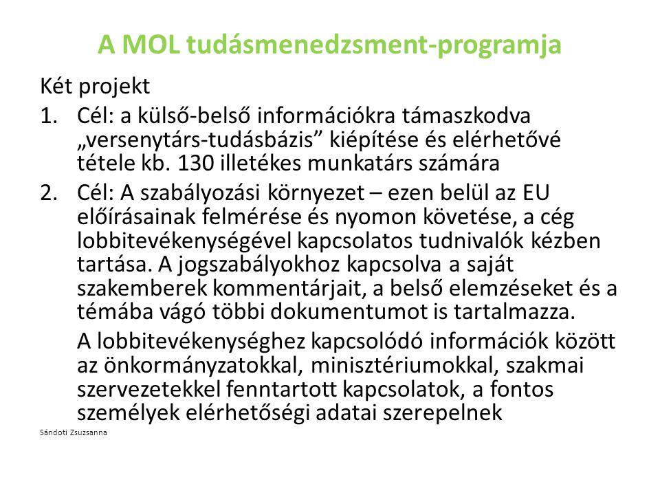"""A MOL tudásmenedzsment-programja Két projekt 1.Cél: a külső-belső információkra támaszkodva """"versenytárs-tudásbázis kiépítése és elérhetővé tétele kb."""