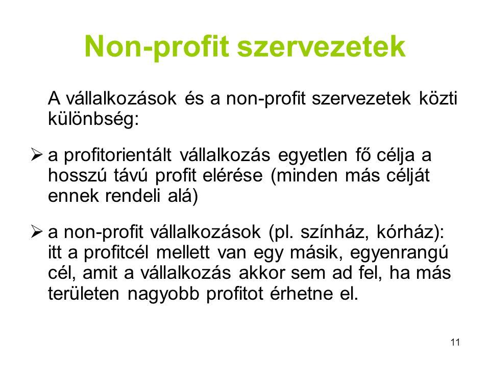 11 Non-profit szervezetek A vállalkozások és a non-profit szervezetek közti különbség:  a profitorientált vállalkozás egyetlen fő célja a hosszú távú