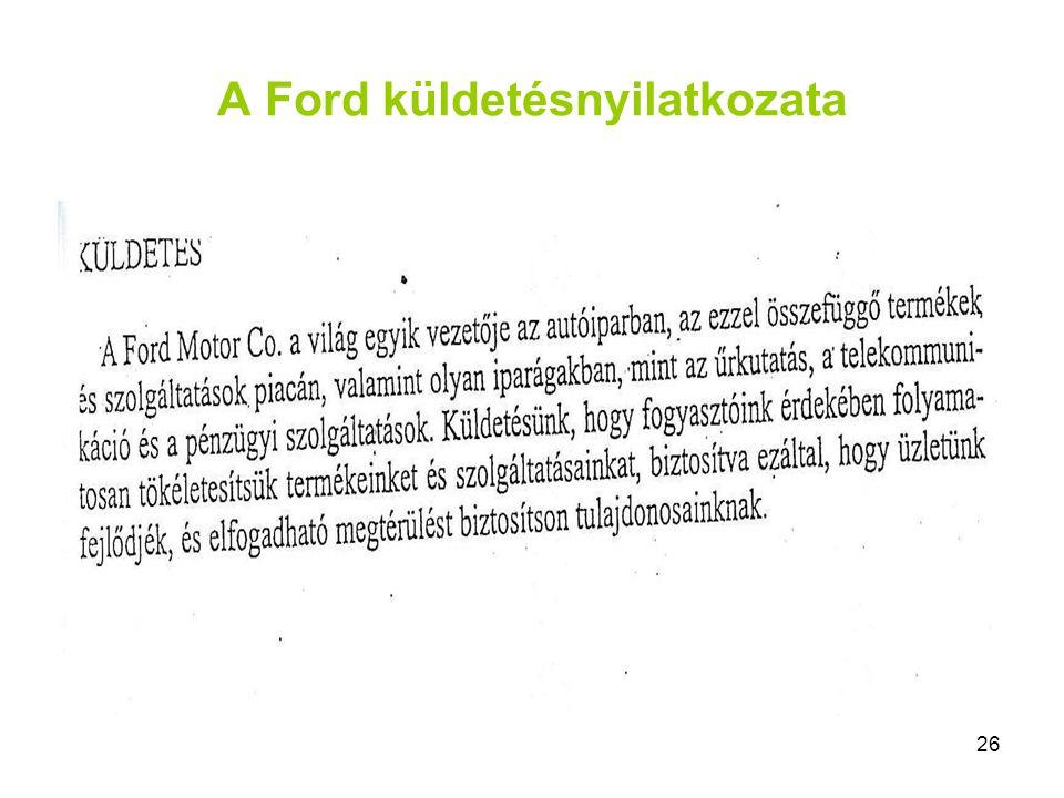 26 A Ford küldetésnyilatkozata