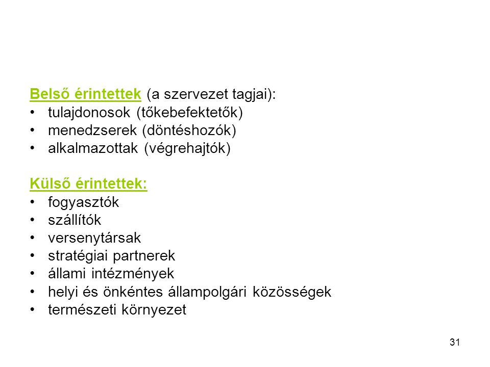 31 Belső érintettek (a szervezet tagjai): tulajdonosok (tőkebefektetők) menedzserek (döntéshozók) alkalmazottak (végrehajtók) Külső érintettek: fogyas