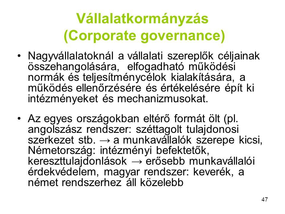 47 Vállalatkormányzás (Corporate governance) Nagyvállalatoknál a vállalati szereplők céljainak összehangolására, elfogadható működési normák és teljes