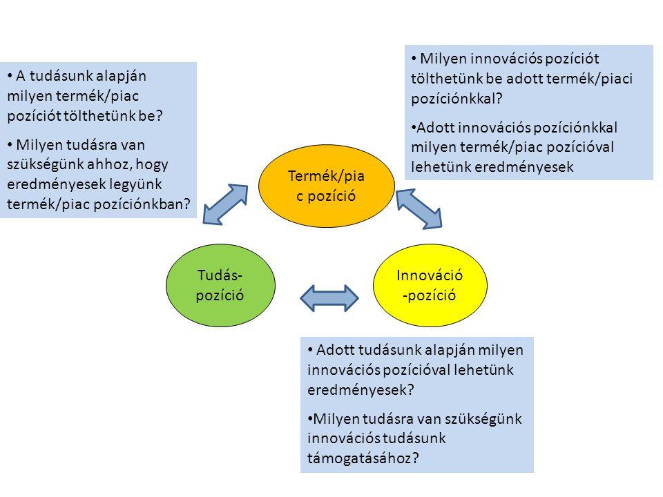 Termék/pia c pozíció Innováció -pozíció Tudás- pozíció A tudásunk alapján milyen termék/piac pozíciót tölthetünk be? Milyen tudásra van szükségünk ahh