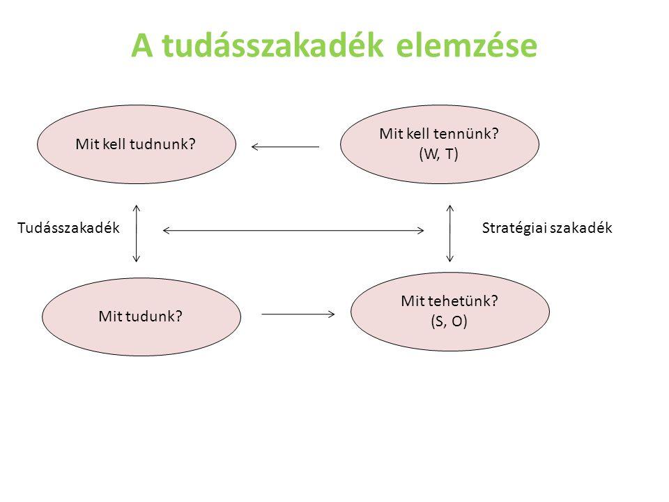 A tudásszakadék elemzése Mit kell tudnunk? Mit tehetünk? (S, O) Mit kell tennünk? (W, T) Mit tudunk? TudásszakadékStratégiai szakadék