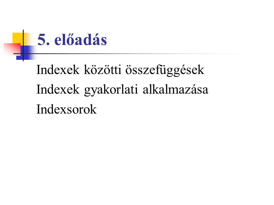 5. előadás Indexek közötti összefüggések Indexek gyakorlati alkalmazása Indexsorok