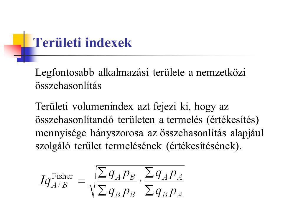 Területi indexek Területi volumenindex azt fejezi ki, hogy az összehasonlítandó területen a termelés (értékesítés) mennyisége hányszorosa az összehaso