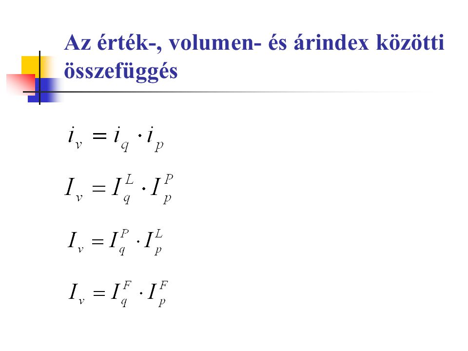 Indexsorok közötti összefüggések II.A láncindexek szorzata egyenlő a bázisindexszel, illetve a két szomszédos bázisindex hányadosa láncindexet ad a) az értékindexsoroknál ez az összefüggés fennáll b) az ár-, és volumenindexsoroknál csak az állandó súlyozású indexsorok esetén