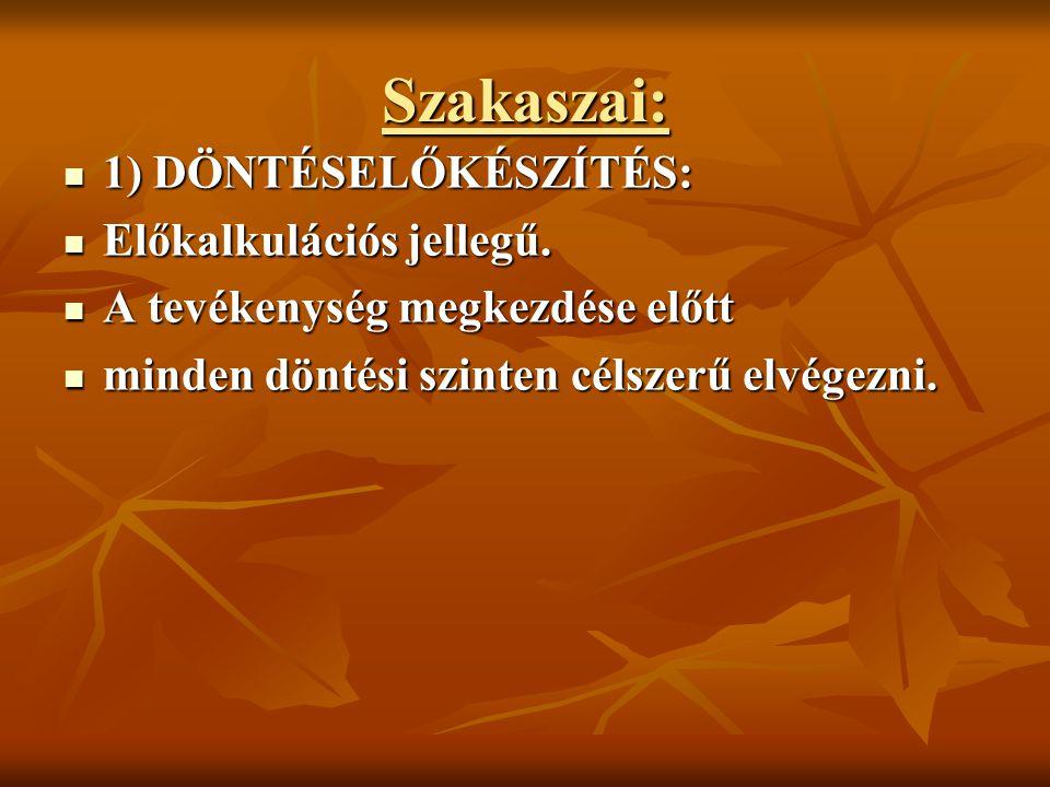 2) VÉGREHAJTÁS SZAKASZA 2) VÉGREHAJTÁS SZAKASZA Közbenső kalkulációs jellegű.