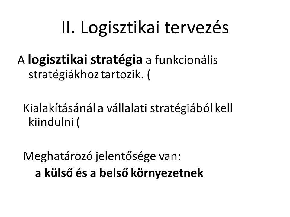 Külső környezeti tényezők: - politikai - gazdasági - Belső tényezők: - munkaerő - - pénzügy - Ismeretük alapvető a logisztikai rendszer kialakításához.