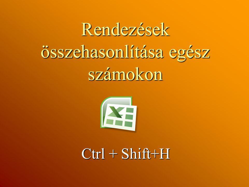Rendezések összehasonlítása egész számokon Ctrl + Shift+H Ctrl + Shift+H