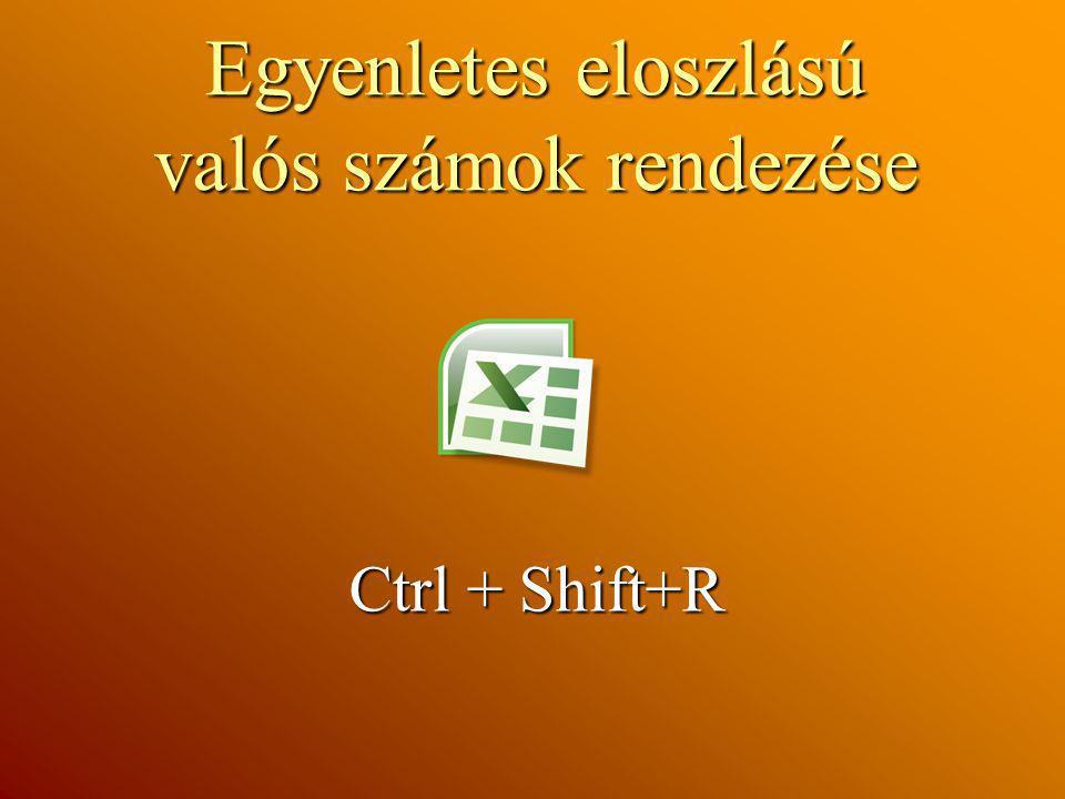 Egyenletes eloszlású valós számok rendezése Ctrl + Shift+R Ctrl + Shift+R