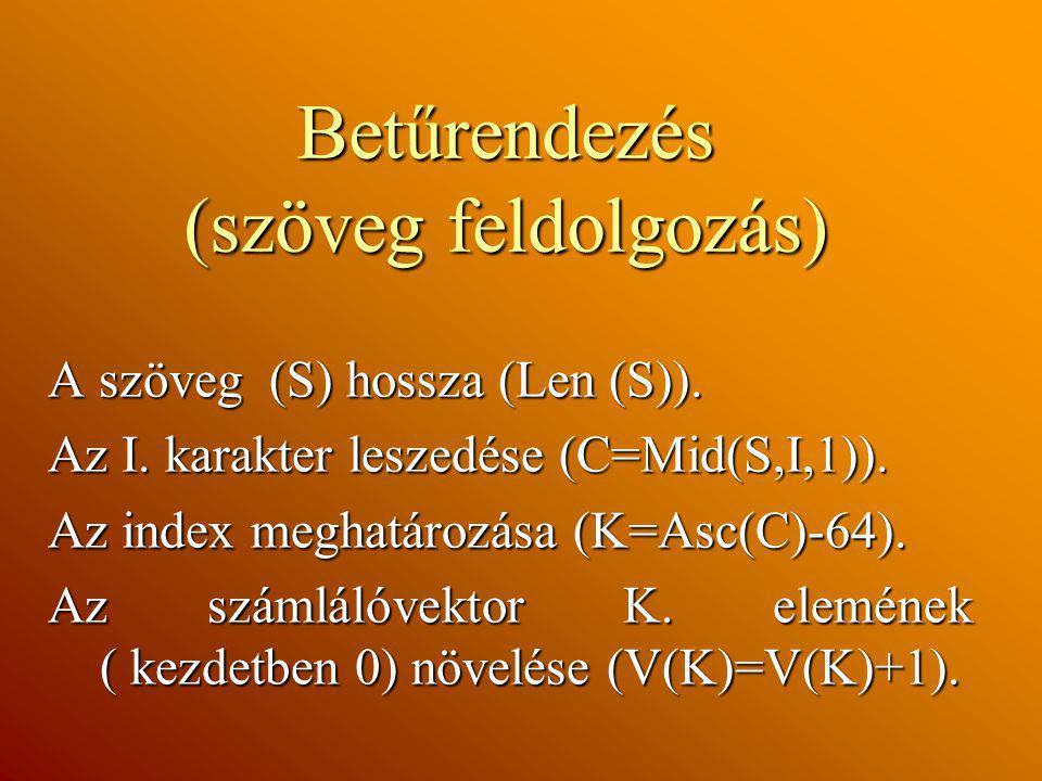 Betűrendezés (szöveg feldolgozás) A szöveg (S) hossza (Len (S)). Az I. karakter leszedése (C=Mid(S,I,1)). Az index meghatározása (K=Asc(C)-64). Az szá