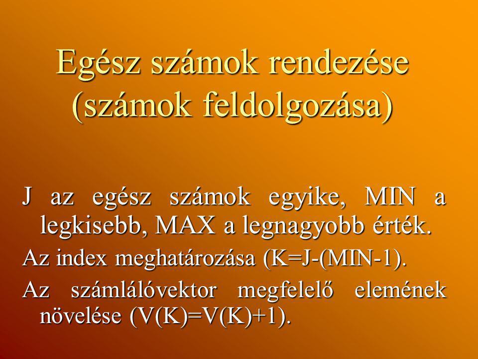 Egész számok rendezése (számok feldolgozása) J az egész számok egyike, MIN a legkisebb, MAX a legnagyobb érték. Az index meghatározása (K=J-(MIN-1). A