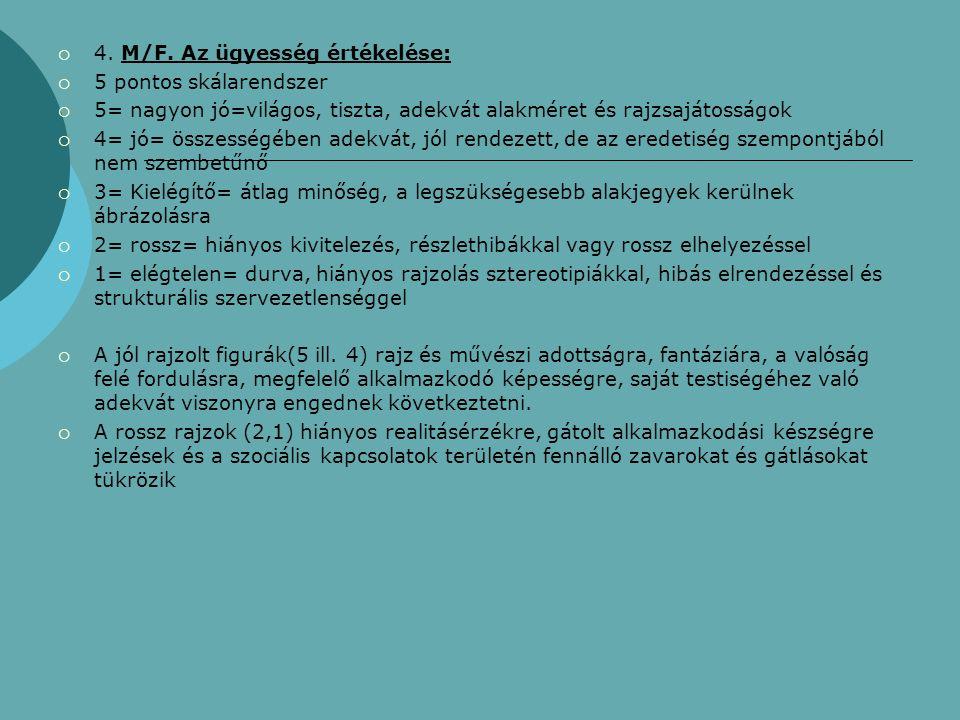  4. M/F. Az ügyesség értékelése:  5 pontos skálarendszer  5= nagyon jó=világos, tiszta, adekvát alakméret és rajzsajátosságok  4= jó= összességébe