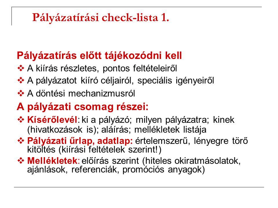 Pályázatírási check-lista 1.