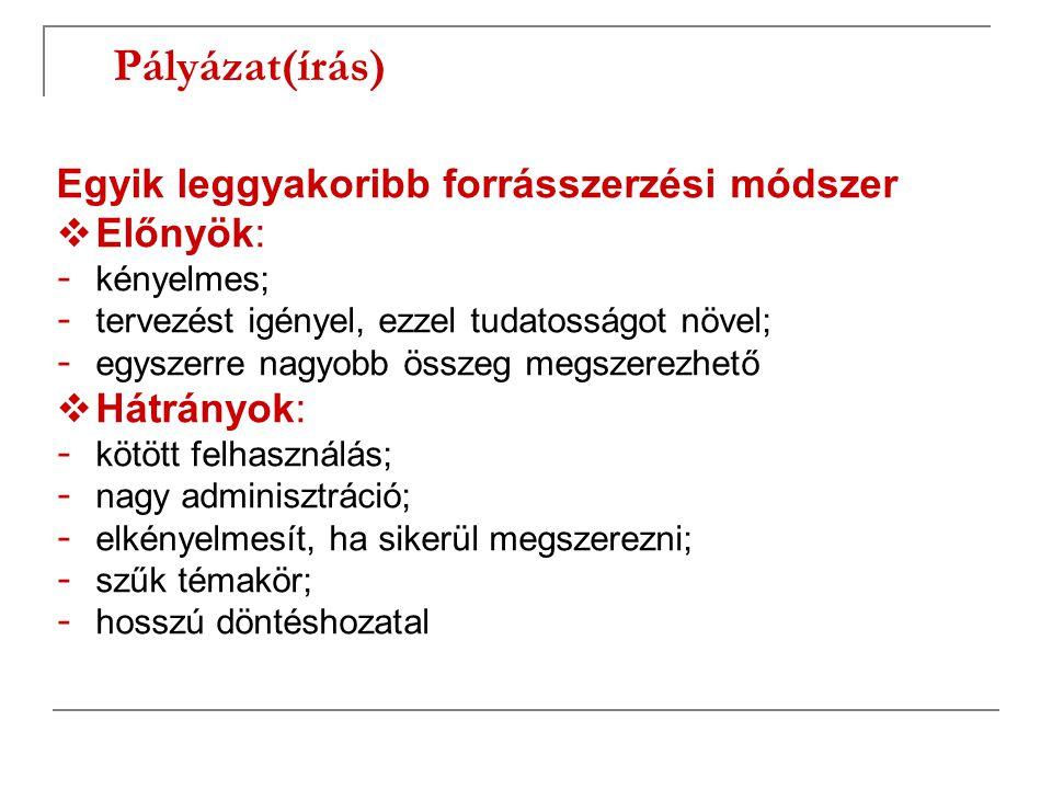 Pályázat(írás)  Pályázati típusok : - projekt pályázatok - működési pályázatok  Pályázható támogatások: - visszatérítendő - vissza nem térítendő - résztámogatás - teljes támogatás - előfinanszírozás - utófinanszírozás - ezek kombinációja  Pályázók köre: - egy szervezet - konzorcium
